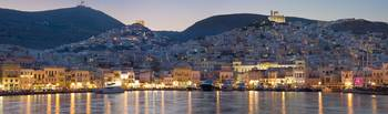 Syros island (Greece) panorama at dusk