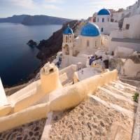 Santorini Oia steps Art Prints & Posters by Yannis Larios
