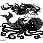 """Mermaid on Octopus (B&W)"" by WinnieFitch"