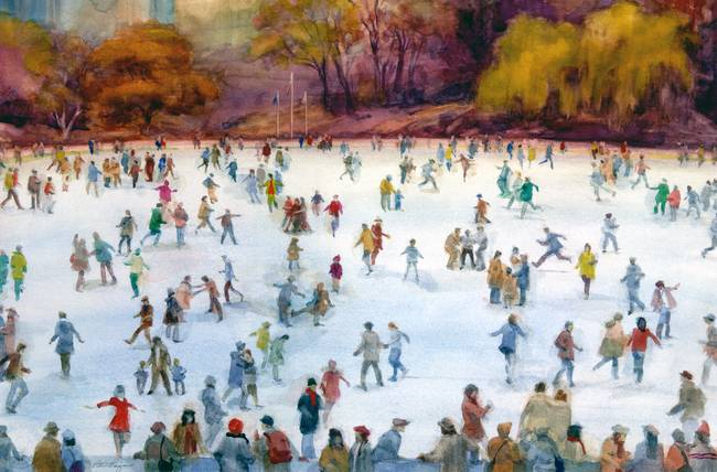 Stunning Quot Ice Skating Quot Watercolor Painting Reproductions