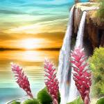 """Red Ginger Waterfall Sunset"" by renyen"