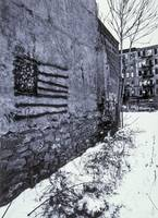 American flag graffiti painting, New York City