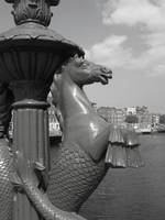 seahorse on parliament bridge,dublin city.