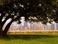 view of manhattan from ellis island