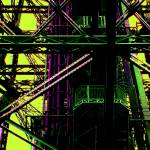 """Eiffel Tower Girders Pink Green"" by LeslieTillmann"