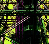 Eiffel Tower Girders Pink Green