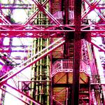 """Eiffel Tower Girders Red"" by LeslieTillmann"