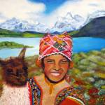 """Indigene boy with lama"" by lorecolore"