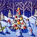 """Snowmen Around The Christmas Tree"" by reniebritenbucher"