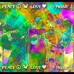 """Peace Love Music Poster"" by artistfaye"
