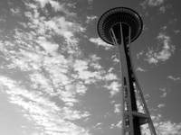 Seattle Space Needle With Clouds