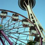 """Space Needle and Ferris Wheel"" by thomasdodson"
