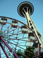 Space Needle and Ferris Wheel