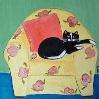 Black Cat on Yellow Chair Art Prints & Posters by Christine Quimby