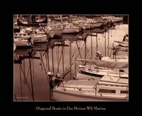 Des Moines Marina Boat in Sepia