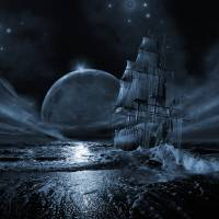 """Ghost ship series: Full moon rising"" by surrealismart"