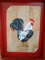 Rooster on a red tray