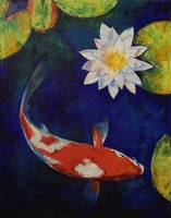 Kohaku Koi and Water Lily