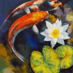 """Koi Fish and Water Lily"" by creese"