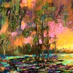 """Mystic Okefenokee Panoramic Landscape Oil Painting"" by GinetteCallaway"
