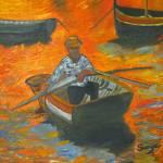 """Jamaican Man In Boat by Sonya P."" by flowerswithfeelings"
