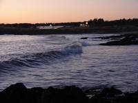 Maine waves at sunset