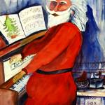 """Santa Playing The Piano by Sonya P."" by flowerswithfeelings"