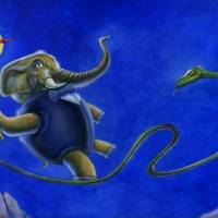 Elephant-Snake, Life-Death Art Prints & Posters by Stu Suchit