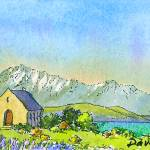 """Lake Tekapo and the Church of the Good Shepherd"" by davebaab"