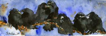 Odd Man Out, Black Crow Watercolor Painting Bird A