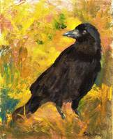 Wheat Field, Black Crow Realist Oil Painting Bird