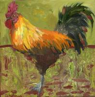 Proud Rooster, Oil Painting Country Farm Chicken A