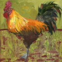 """Proud Rooster, Oil Painting Country Farm Chicken A"" by schulmanart"