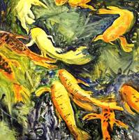 Singing Koi, Oil Painting Koi Carp Fish Abstract A