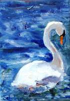 White Swan, Oil Painting Bird Art