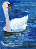 Swan Lake, Oil Painting White Bird Art