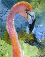 Flamingo Up, OIl Painting Pink Tropical Flamingo B