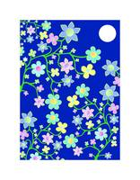 Bling Florals 1 (flowers, moon, blue sky)
