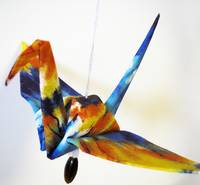 Fabric Origami Peace Crane Ornament