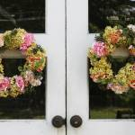"""Floral Wreaths on White Doorway"" by melissashouse"