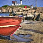 """Nubble Light with boat in foreground"" by DigiPix"