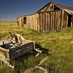 """Old Barn and Wheelbarrow, Bodie, California"" by edleckert"