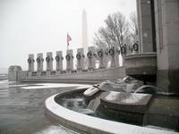World War II memorial and Washington Monument snow