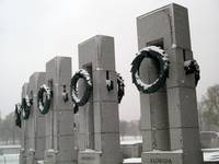 World War II memorial snow scene