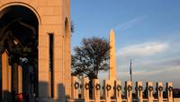 Washington Monument and WWII memorial at sunset