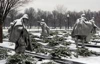 korean war memorial winter snow