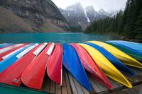 Colorful canoes at Lake Moraine, Banff
