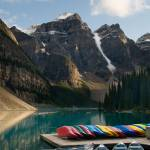 """Canoes on Lake Moraine, Banff National Park"" by canbalci"