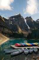 Canoes on Lake Moraine, Banff National Park