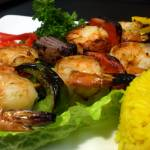 """Grilled shrimp kabob/ cu2"" by ecazphoto"